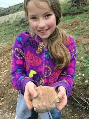 Collecting fossils with kids in Fossil, Oregon