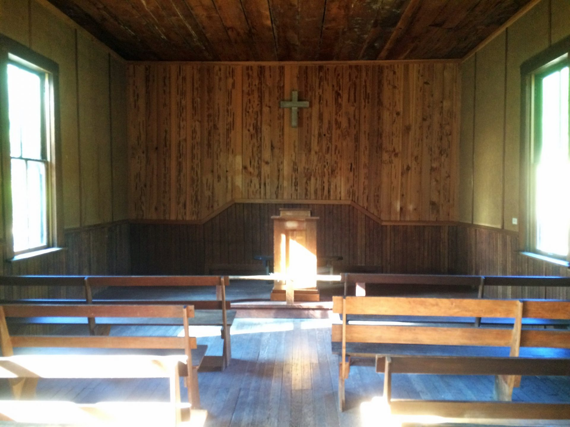 Inside the church at Golden, Oregon