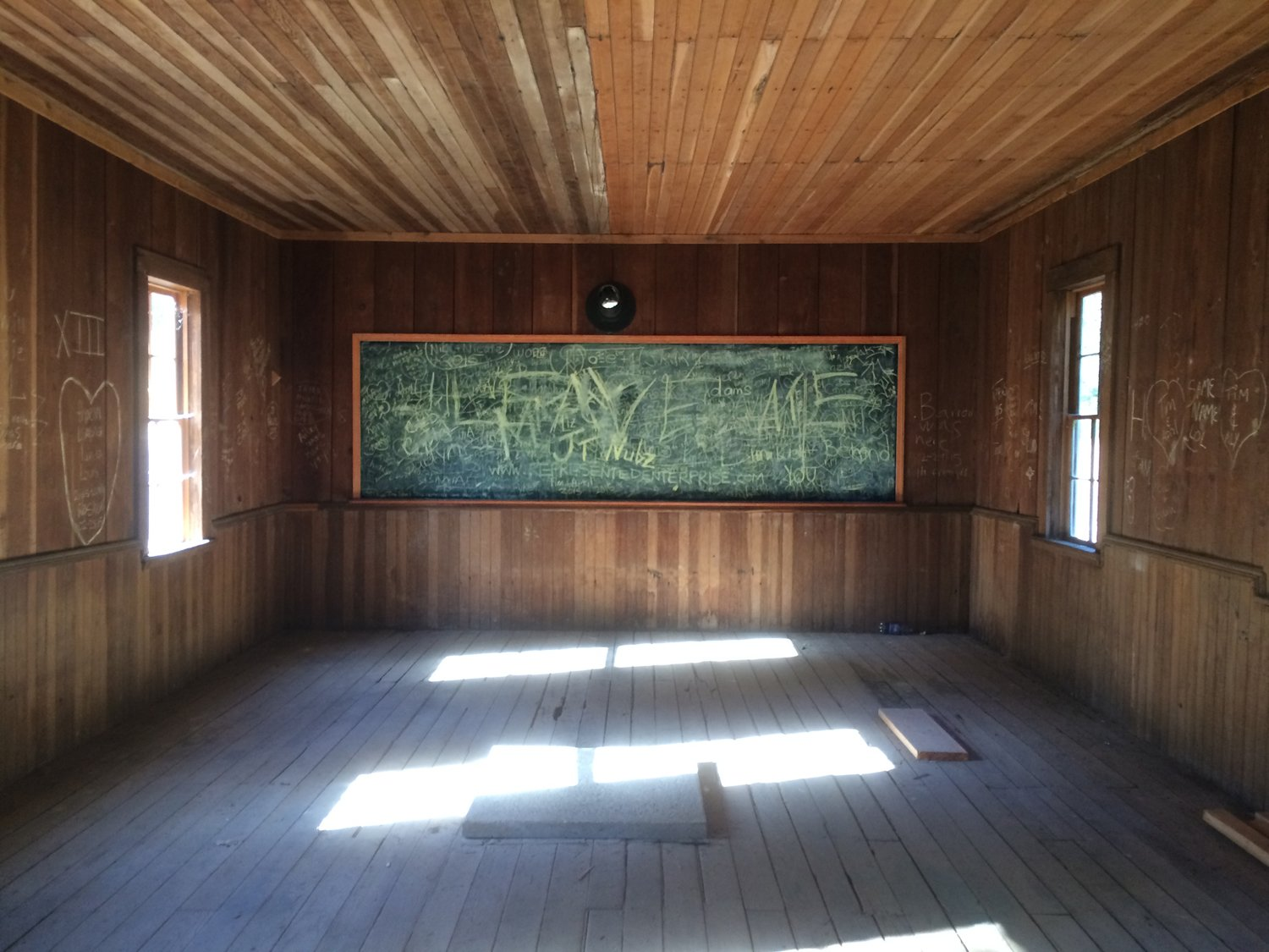 Inside the school house at Golden, Oregon