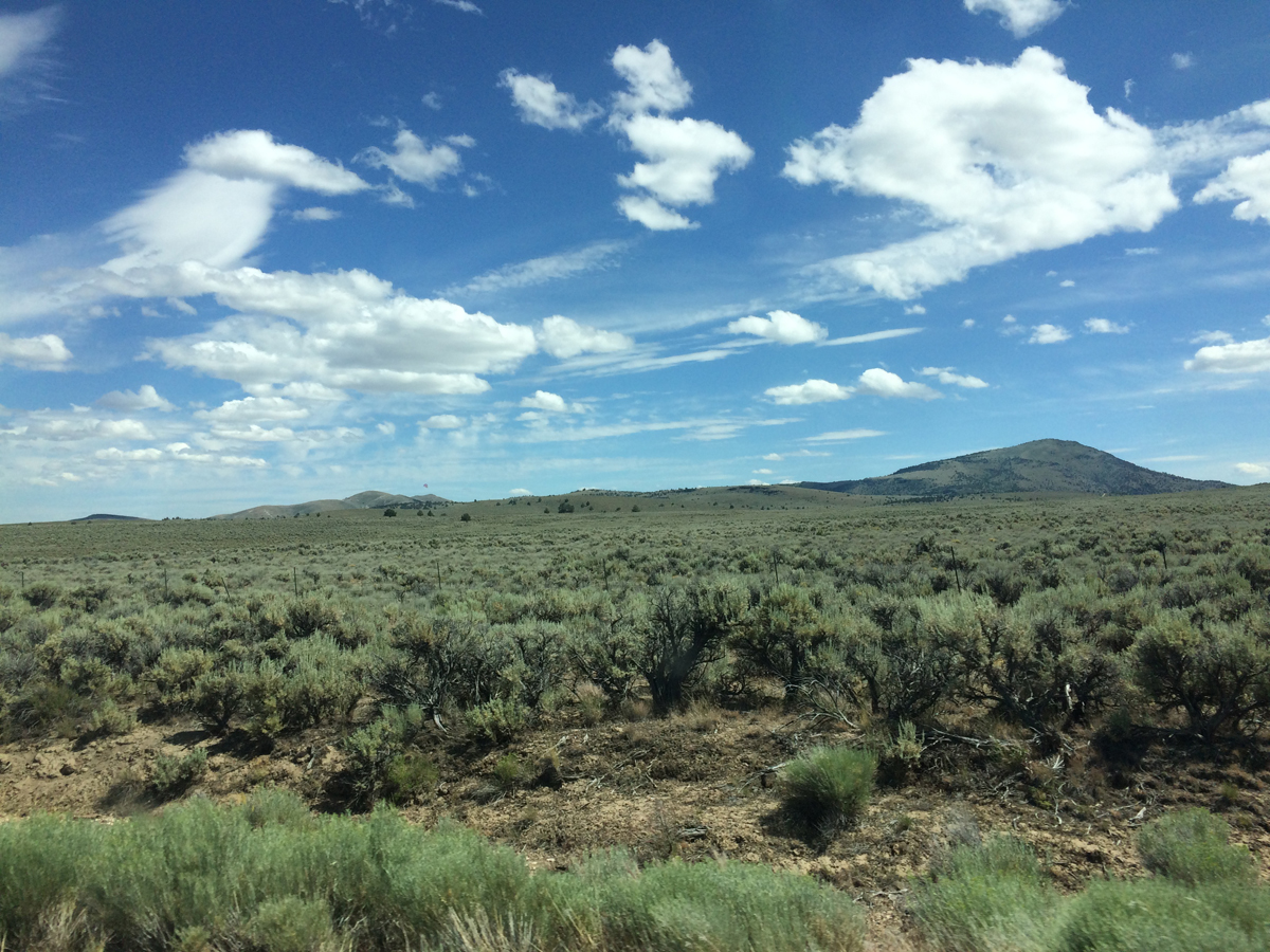 Our first view of Glass Butte from the highway, in Oregon