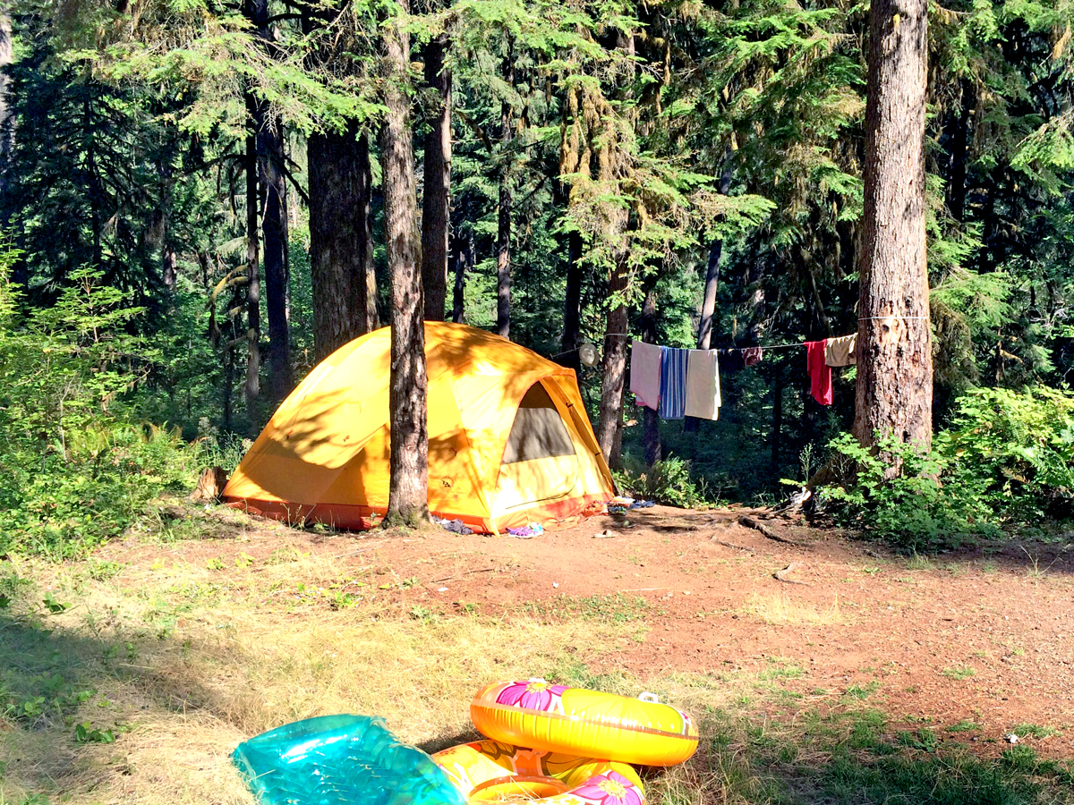 Our tent set up at Puma Campground, near Fall Creek
