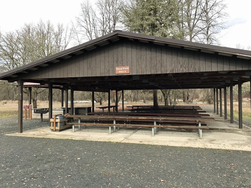 Picnic Shelter #4 at Jasper State Park - family winter walk with kids