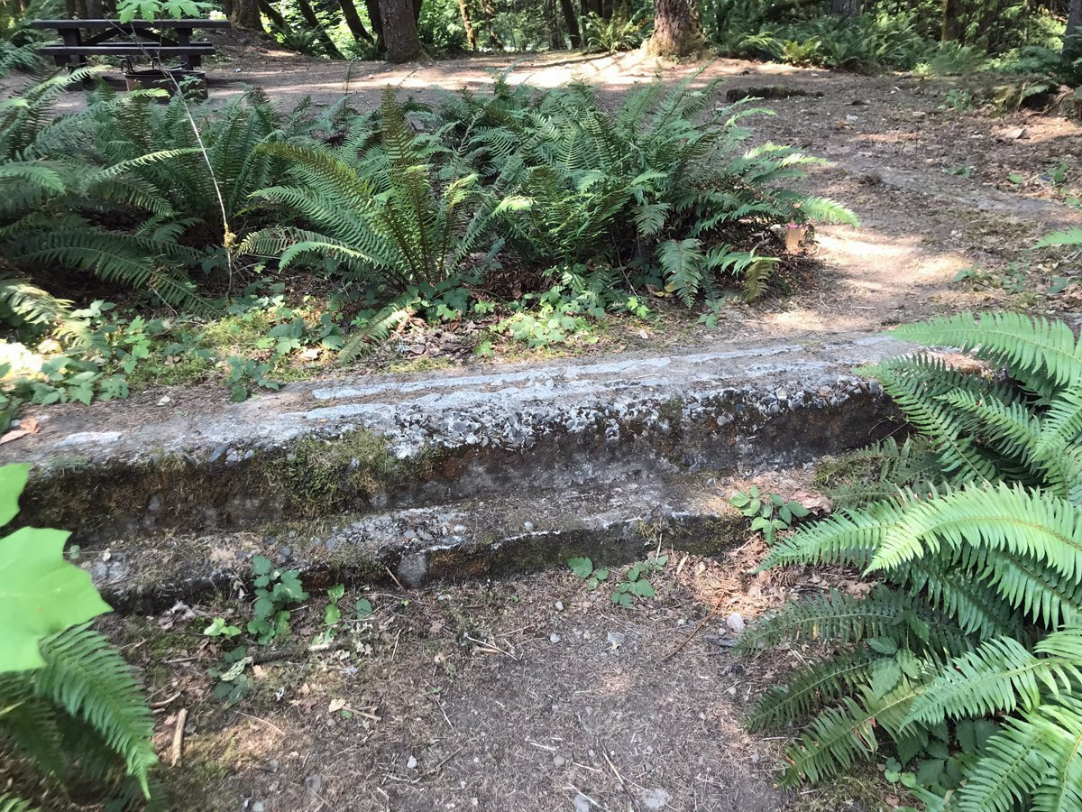 Concrete foundation at Lund Park Campground