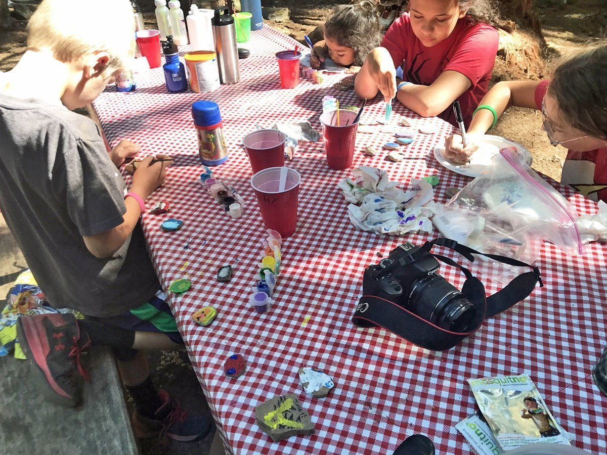rock painting activity for kids while camping