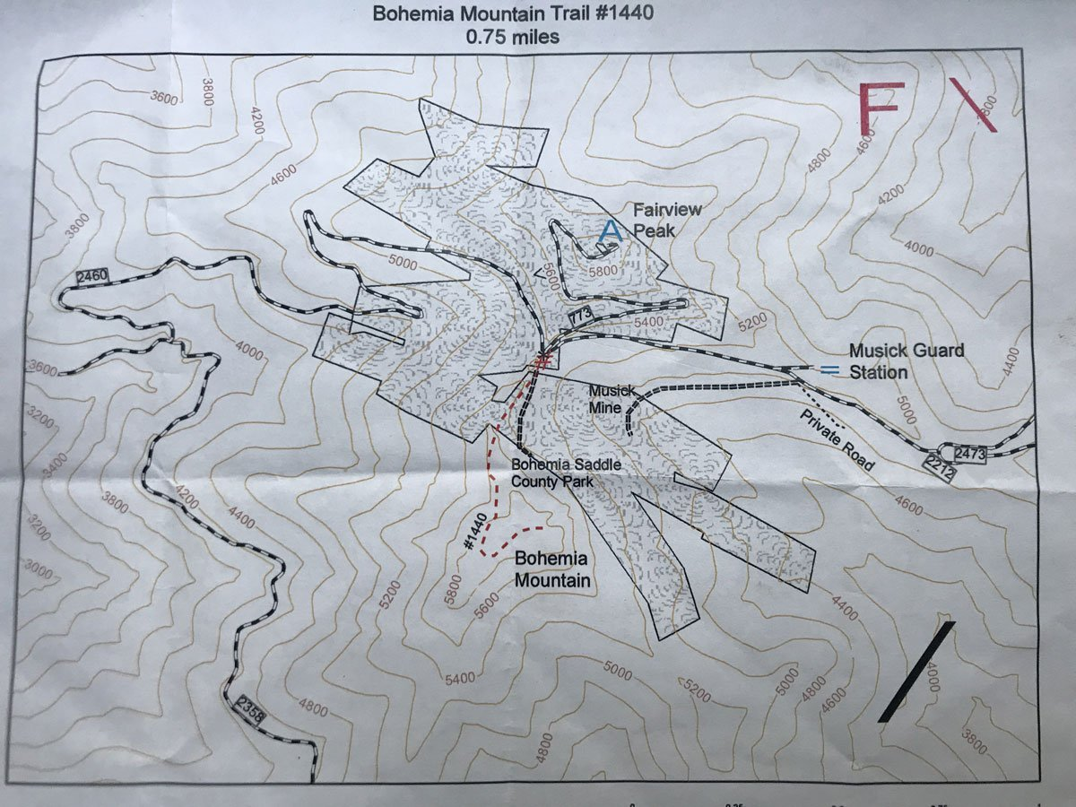 Map of Bohemia Mining District and abandoned gold mines in Oregon.