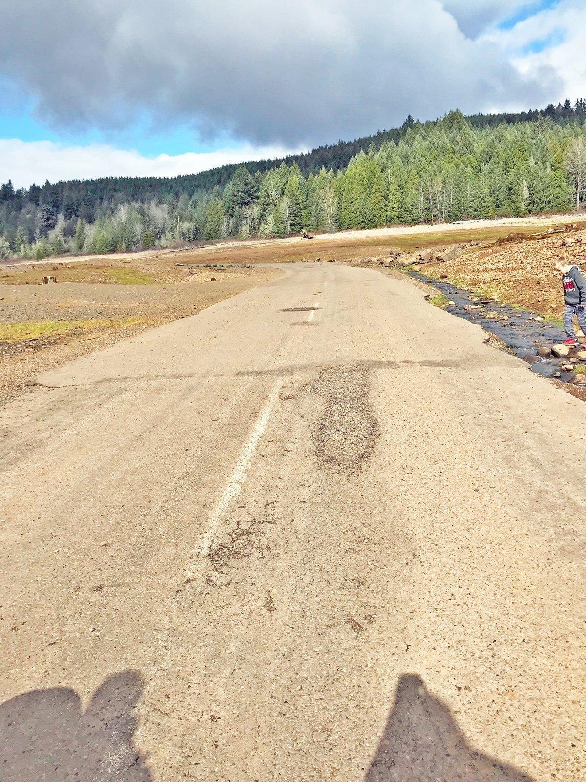 Road at the bottom of Fall Creek Lake.