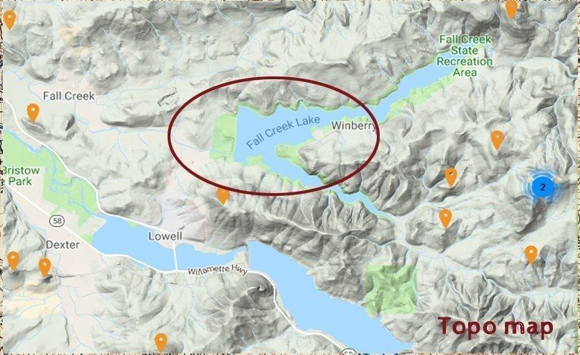 Topography map of Fall Creek Lake in Oregon