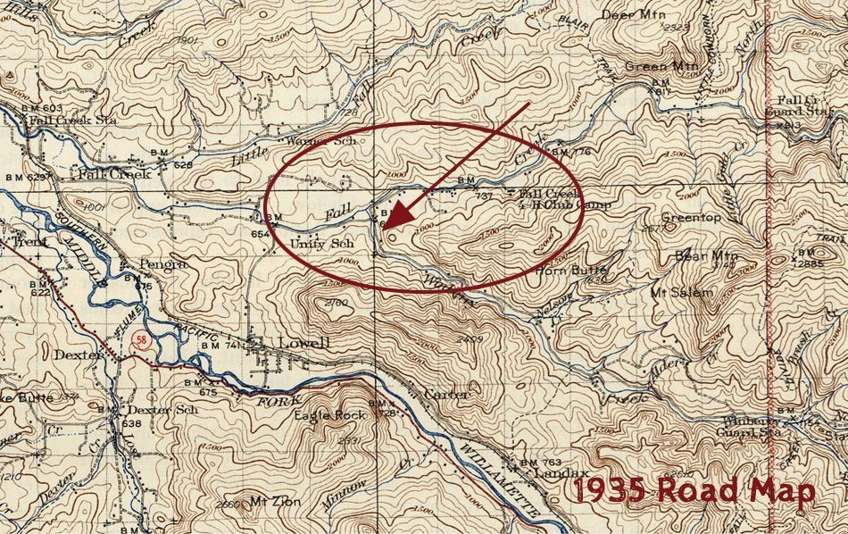 1935 map of Fall Creek Oregon