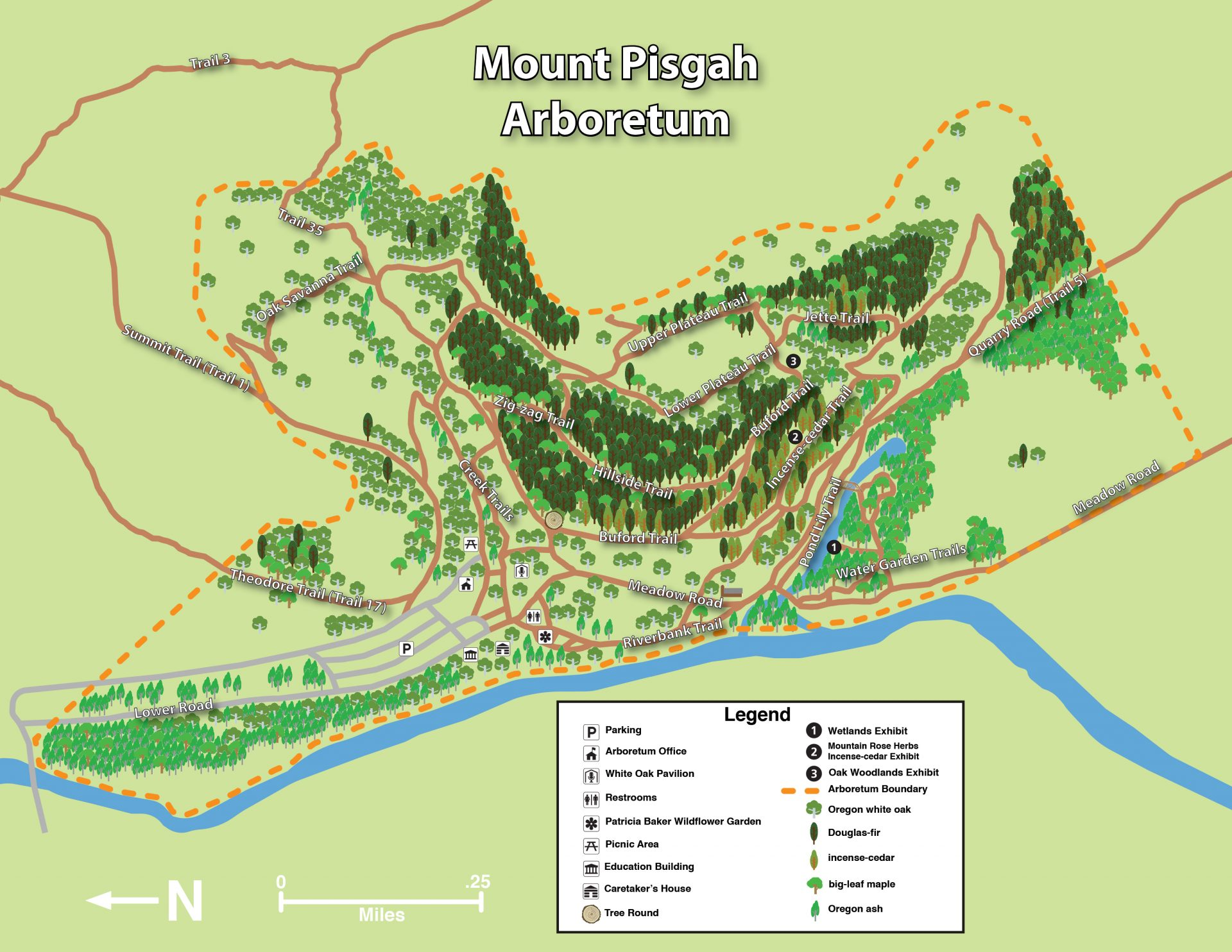 Map of Mt Pisgah hiking trails