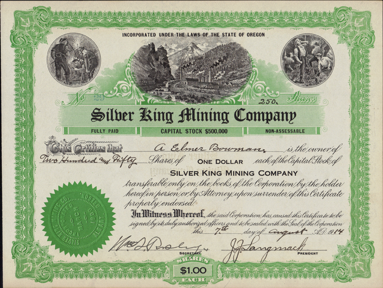 Silver King Mine stock certificate - history of Oregon mine