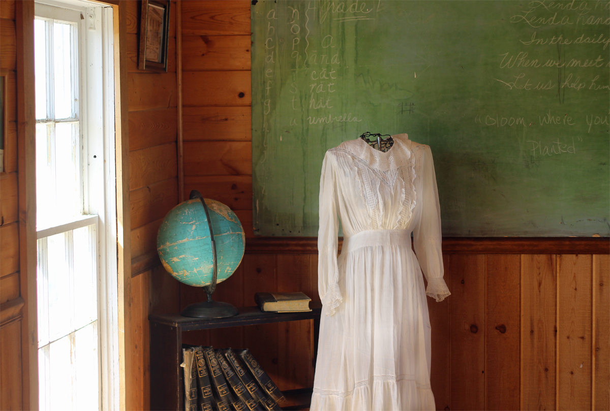 Inside Sunset School at the Homestead Museum. Photo copywrite OregonOutdoorFamily.