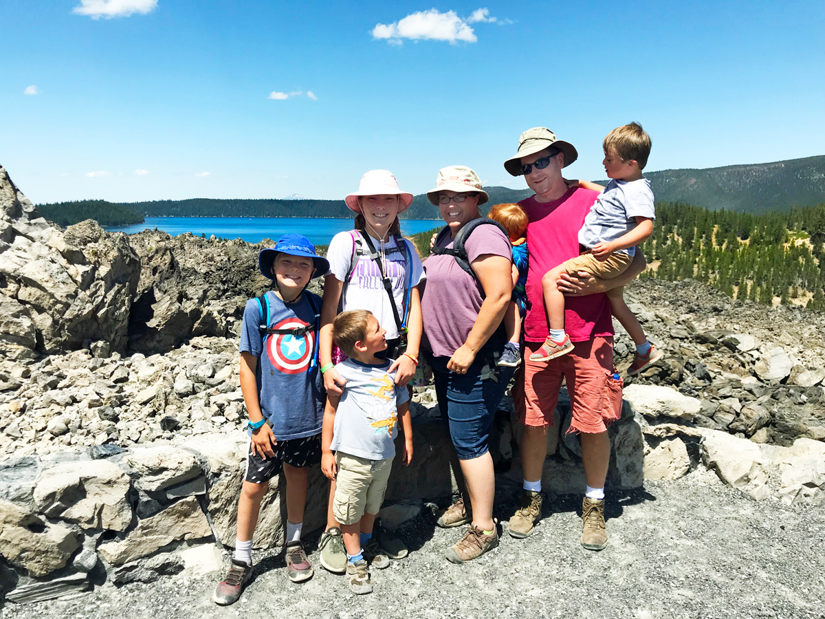Oregon Outdoor Family at the top of Big Obsidian Trail
