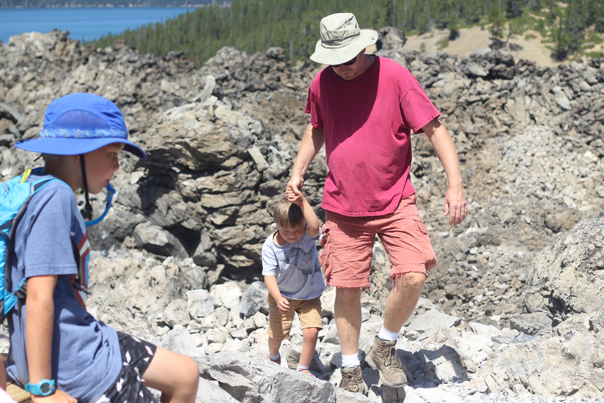 Hiking the Big Obsidian Flow trail with children