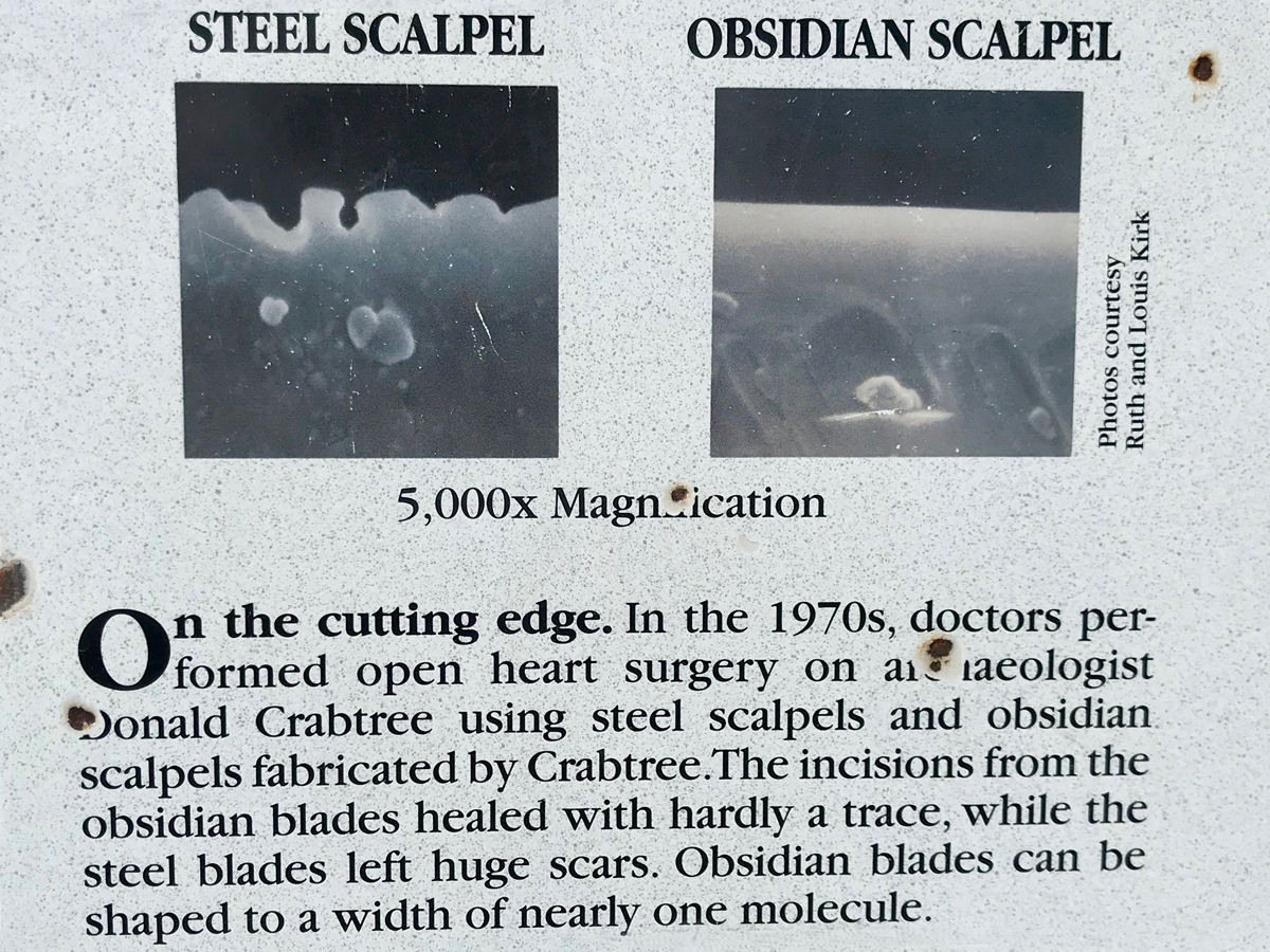 Obsidian Scalpels -a sign at Big Obsidian Flow in Oregon