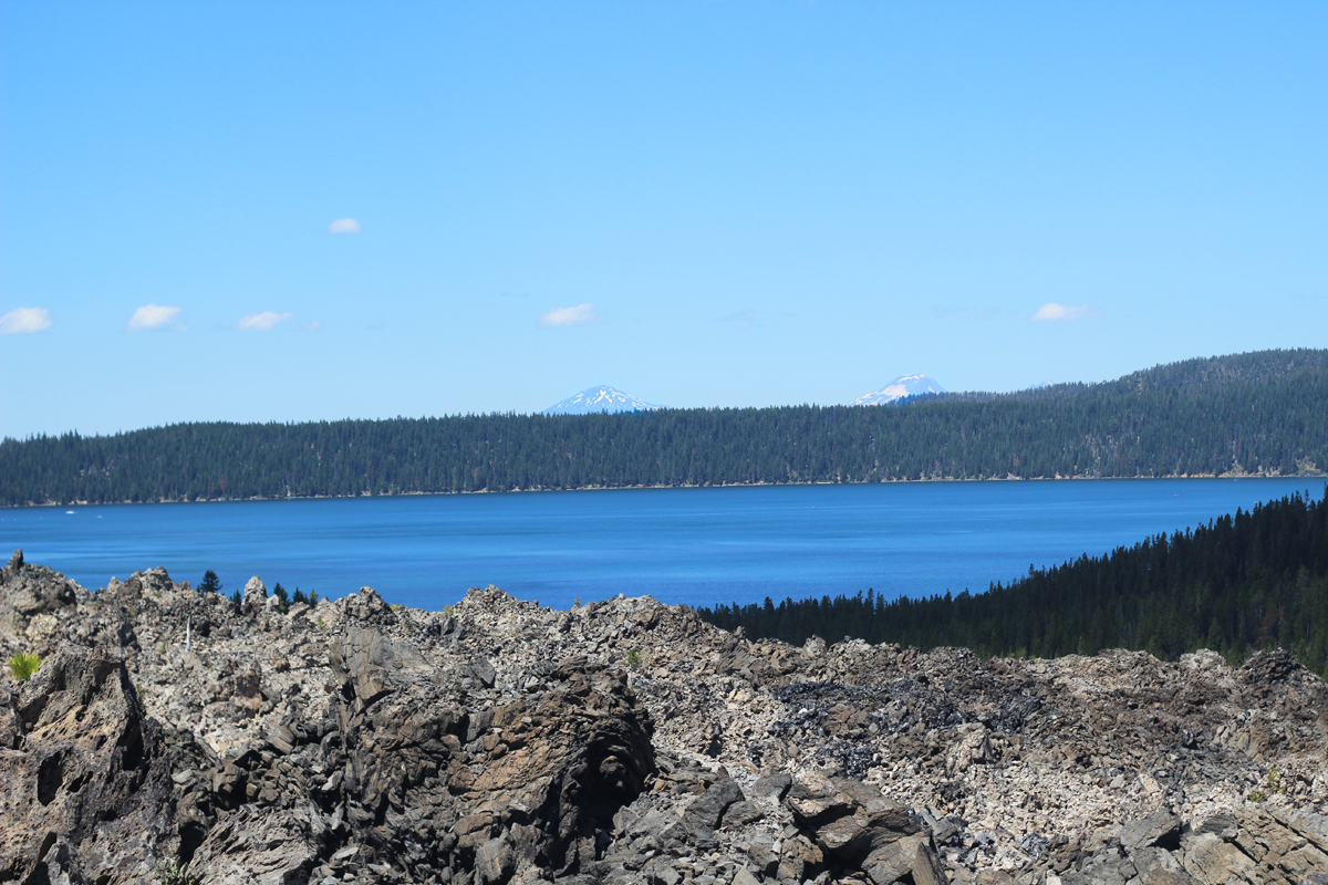 Paulina Lake from the top of Big Obsidian Flow