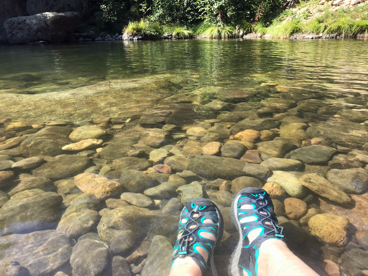 Breaking in Keen Whisper Sandals in water - favorite hiking sandals for women