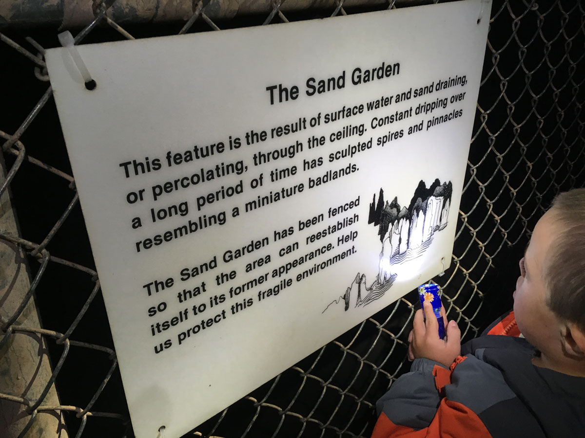 The Sand Garden sign at Lava River Cave