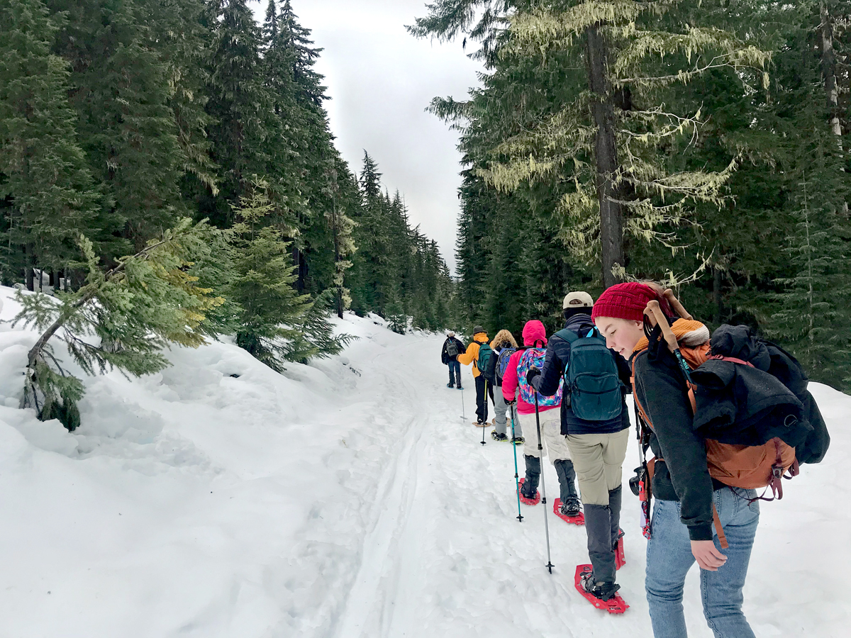 Snowshoeing to Odell Lake on Abernathy Road at the Gold Lake Sno-Park