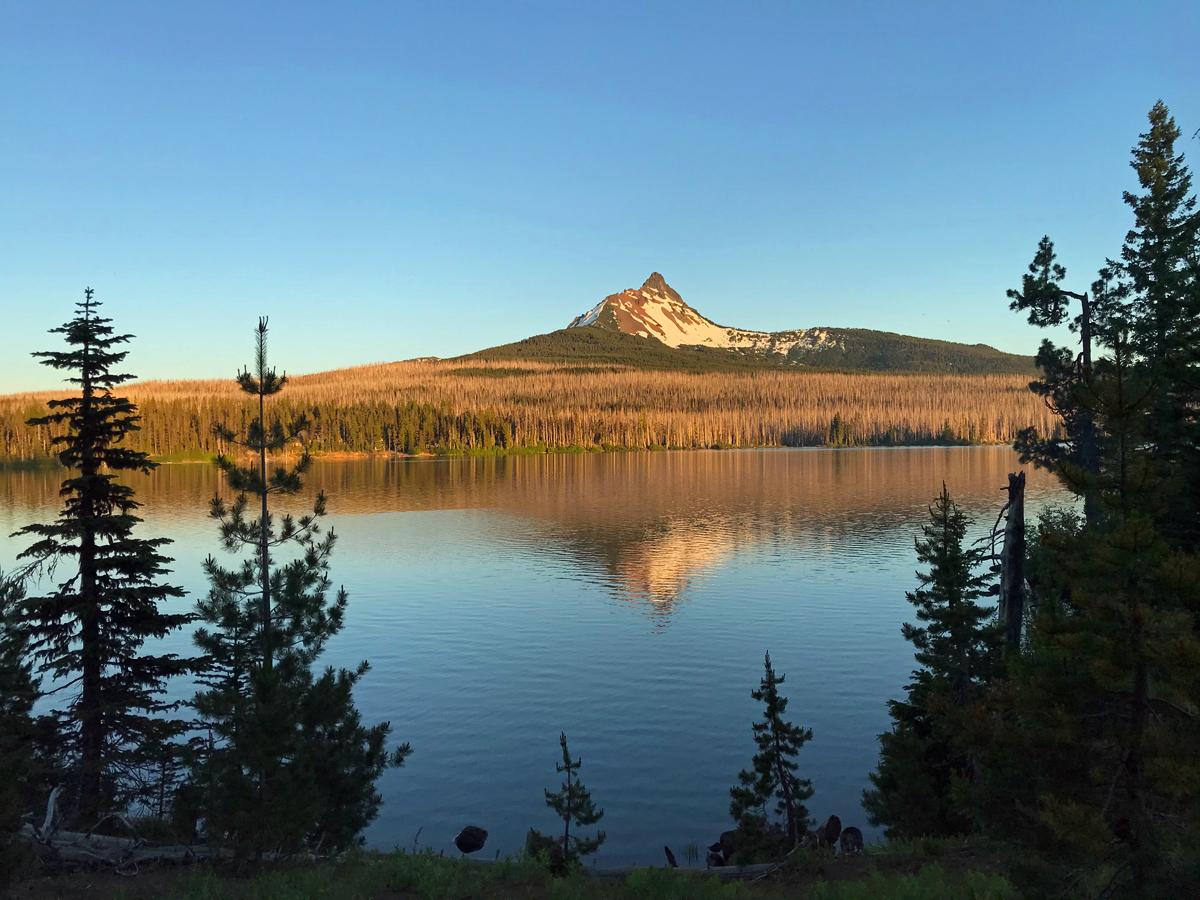 Sunset at Mt Washington over Big Lake, Oregon