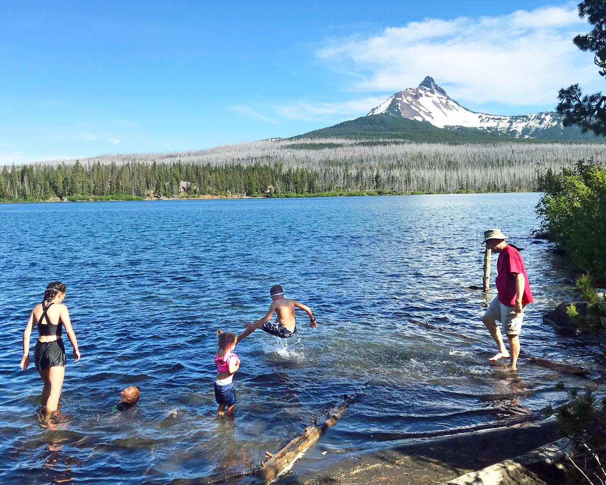 Swimming in Big Lake, Oregon